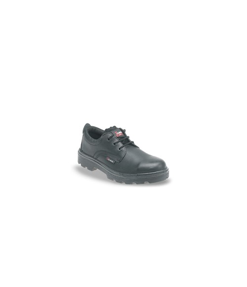 Toesavers 1410 Black Leather 3 Eyelet Safety Shoes - Dual Density Sole & Midsole