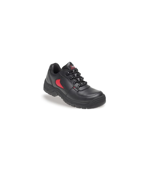 Toesavers 3412 Black & Red Leather Safety Trainers-Dual Density Sole & Midsole