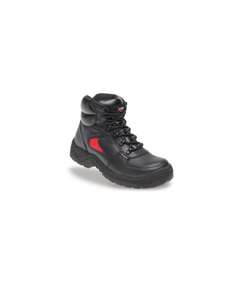 Toesavers 3414 Black & Red Leather Safety Trainer Boots-Dual Density Sole & Midsole