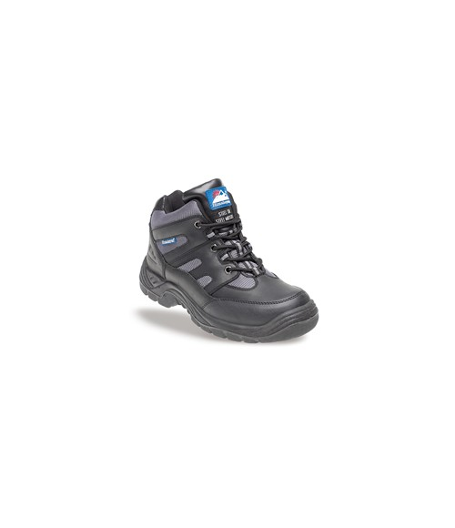 Himalayan 4000 Black and Silver Leather/Nylon Safety Cross Trainer Boots - TPU Sole and Midsole