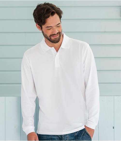 Russell Classic Long Sleeve Pique Polo Shirt