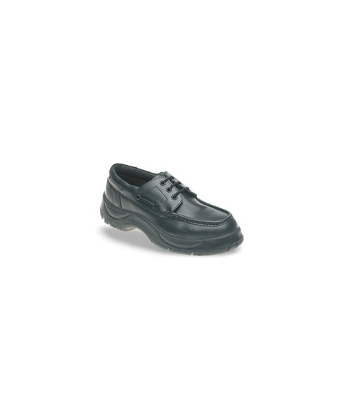 Himalayan 710 Black Leather Safety Boat Shoes - Extra Wide Fit