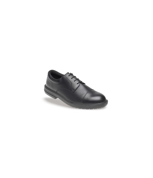 Toesavers 910 Black Leather Formal Safety Shoes - Dual Density Sole & Midsole