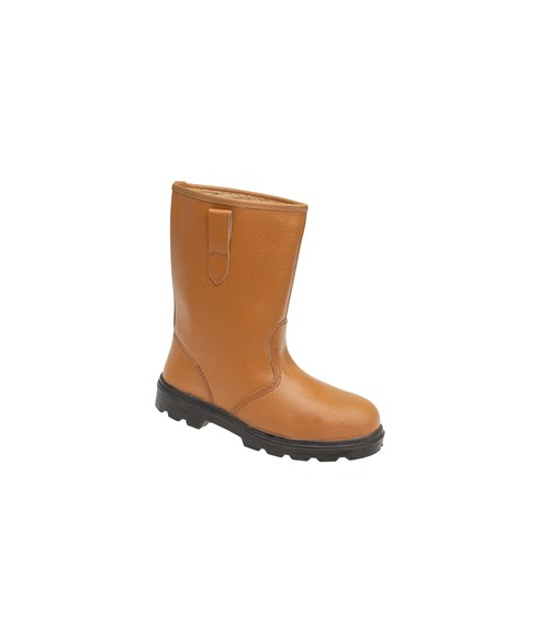 Toesavers 9101 Tan Leather Safety Rigger Boots - Fleecy Warm Lining & Steel Midsole