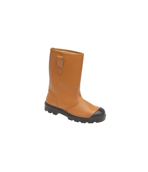 HIMALAYAN 9102 Tan Leather Safety Rigger Boots - Fleecy Warm Lining, Steel Midsole & Scuff Cap