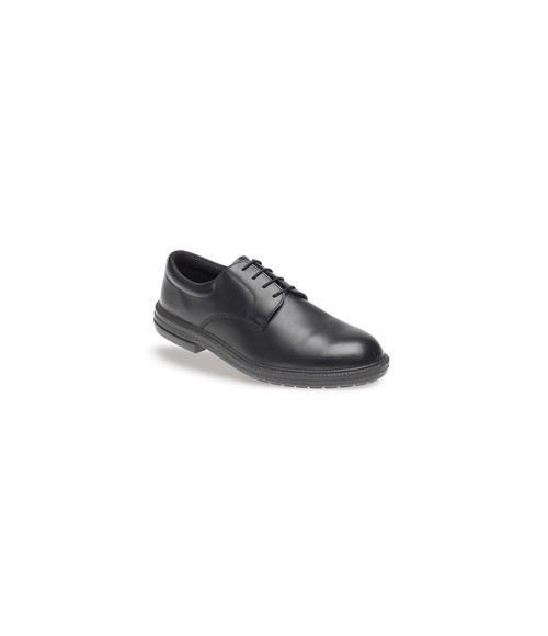 Toesavers 911 Black Leather Plain Front Safety Shoes - Dual Density Sole & Midsole