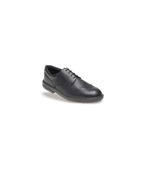 Toesavers 912 Black Leather Brogue Safety Shoes - Dual Density Sole & Midsole