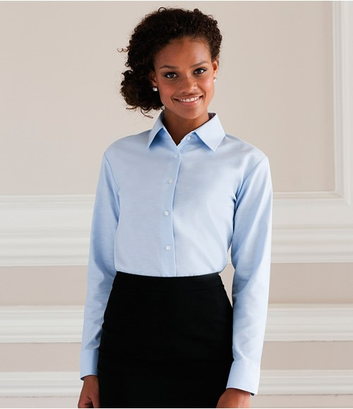 Russell Collection Ladies Long Sleeve Easy Care Oxford Shirt