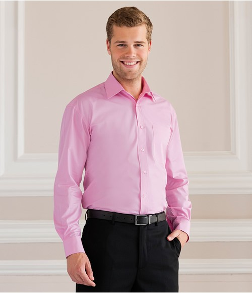 Russell Collection Long Sleeve Easy Care Cotton Poplin Shirt