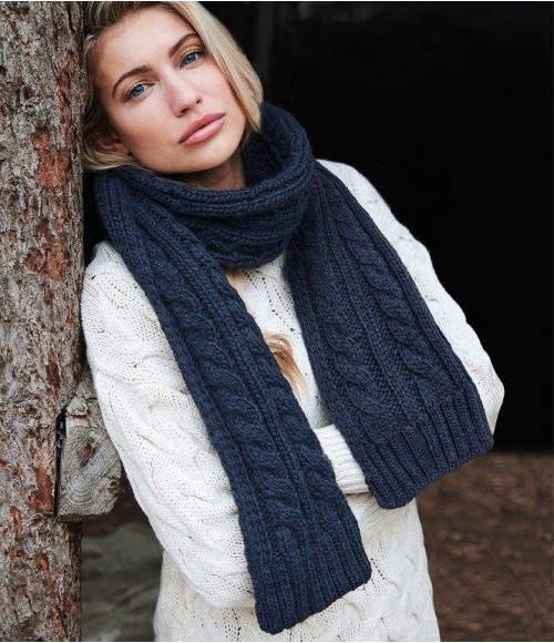 BB499 Beechfield Cable Knit Melange Scarf