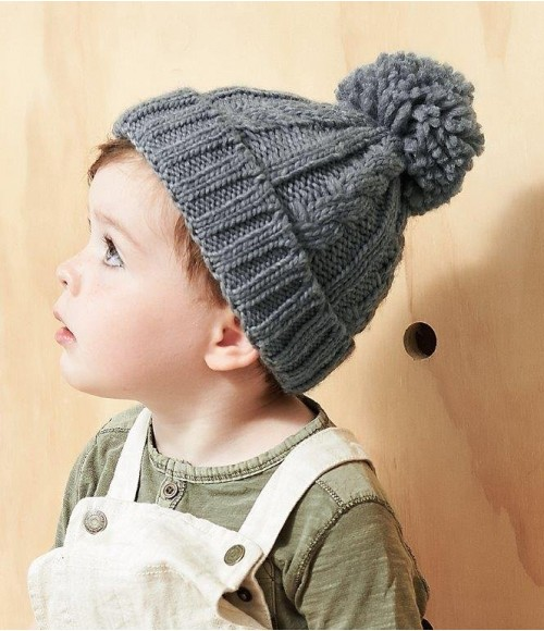 BB480A Beechfield Infant Cable Knit Melange Beanie