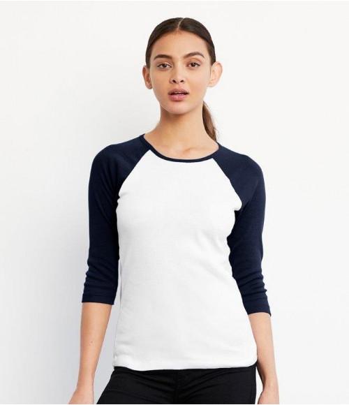 BL2000 Bella Ladies Baby Rib 3/4 Sleeve Contrast T-Shirt