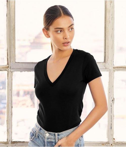 BL6035 Bella Ladies Jersey Deep V Neck T-Shirt