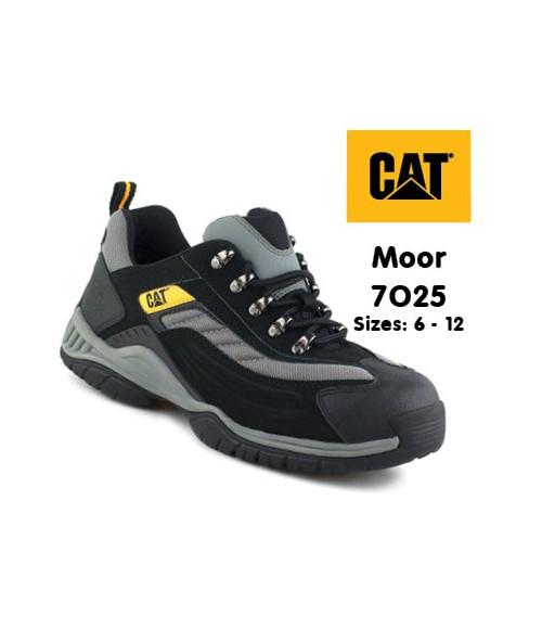 Caterpillar 7025 Moor Black and Silver PU/Nubuck Lightweight Safety Trainers