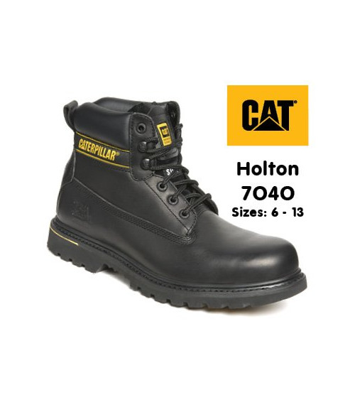 Caterpillar 7040 Holton Black Leather Goodyear Welted Safety Boots