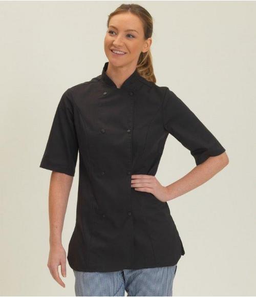 DE006 Dennys Ladies Short Sleeve Premium Chef's Jacket