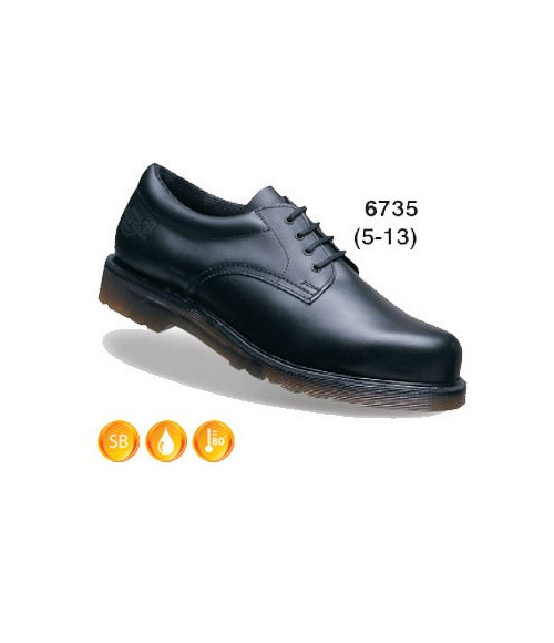 Dr Martens-Airwair 6735 Icon Black Smooth Leather Lace Padded Ankle Safety Shoes - DMS