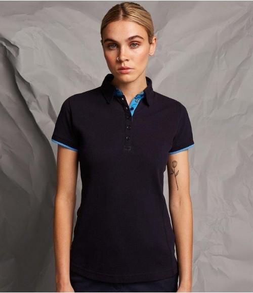 FR201 Front Row Ladies Contrast Cotton Piqué Polo Shirt