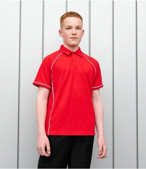 LV372 Finden and Hales Kids Performance Piped Polo Shirt