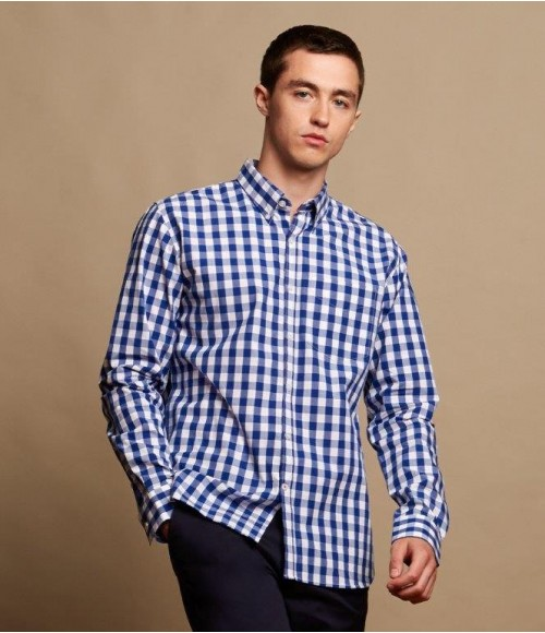 FR500 Front Row Long Sleeve Checked Cotton Shirt