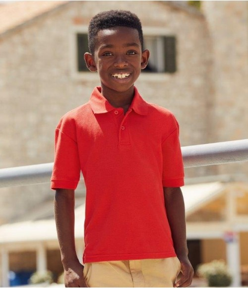 SS11B Fruit of the Loom Kids Poly/Cotton Pique Polo Shirt