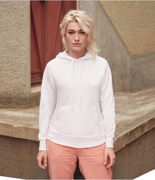 SS181 Fruit of the Loom Lady Fit Lightweight Hooded Sweatshirt