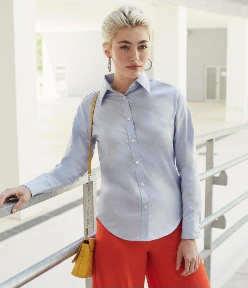 SS472 Fruit of the Loom Lady Fit Long Sleeve Oxford Shirt