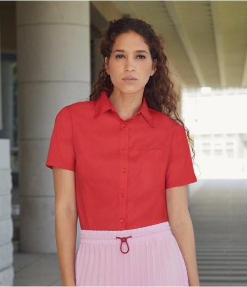 SS481 Fruit of the Loom Lady Fit Short Sleeve Poplin Shirt