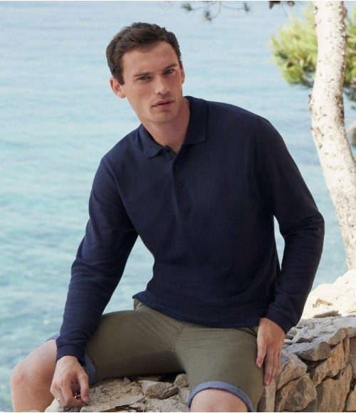 SS24 Fruit of the Loom Premium Long Sleeve Cotton Pique Polo Shirt