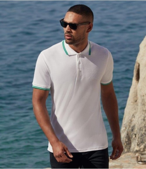 SS25 Fruit of the Loom Premium Tipped Cotton Pique Polo Shirt