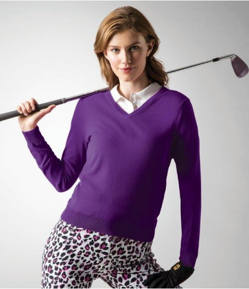 GM93 Glenmuir Ladies V Neck Cotton Sweater