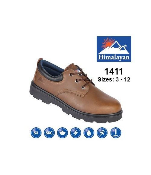 HIMALAYAN  1411 Brown Leather Safety Shoe With Steel Midsole And Toecap