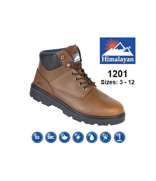 Himalayan 1201 Brown Nubuck Leather Safety Boots - Dual Density Sole & Midsole