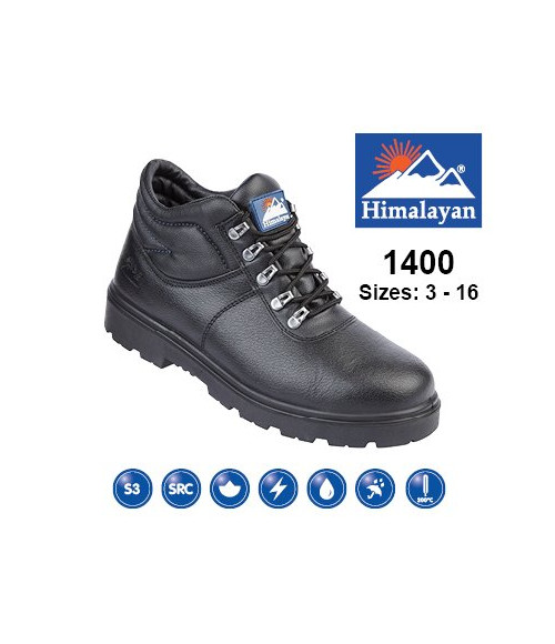 Himalayan 1400 Black Leather Safety Boots - Dual Density Sole & Midsole