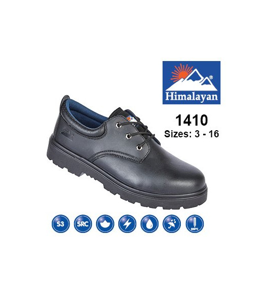 Himalayan 1410 Black Leather 3 Eyelet Safety Shoes - Dual Density Sole & Midsole