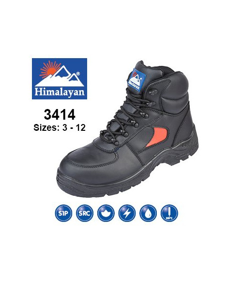Himalayan 3414 Black & Red Leather Safety Trainer Boots-Dual Density Sole & Midsole
