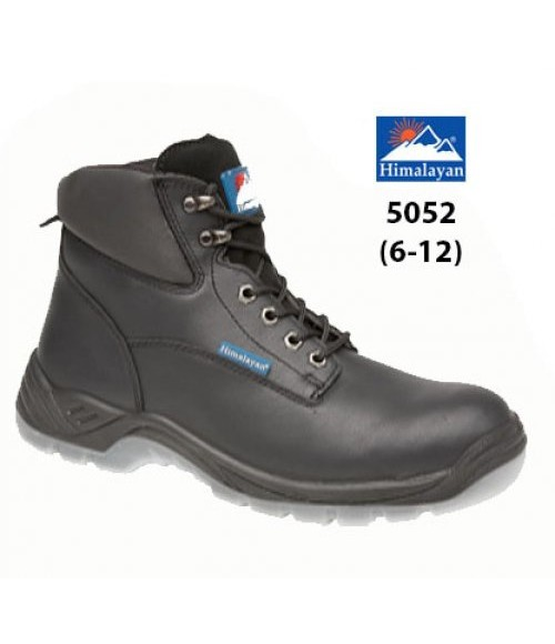 Himalayan 5052 Black Full Grain Leather Safety Boots - PU/PU Clear Sole & Steel Midsole