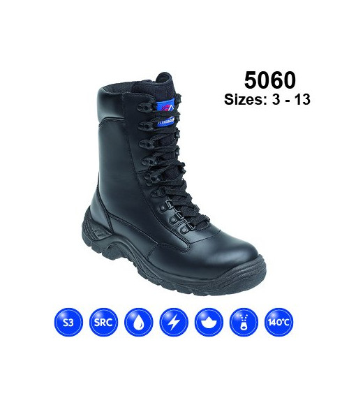 Himalayan 5060 Black Leather High Cut Safety Boots - TPU Sole & Steel Midsole