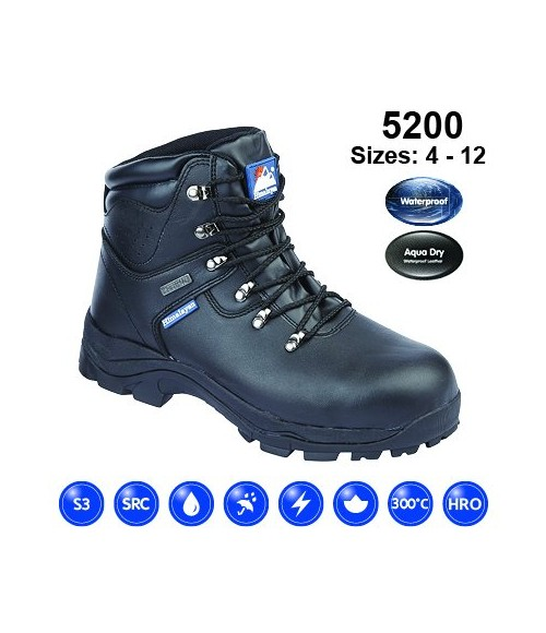 5200 HIMALAYAN Black Leather Fully Waterproof Safety Boot