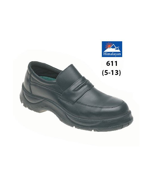 Himalayan 611 Black Leather Casual Safety Shoes - Extra Wide Fit