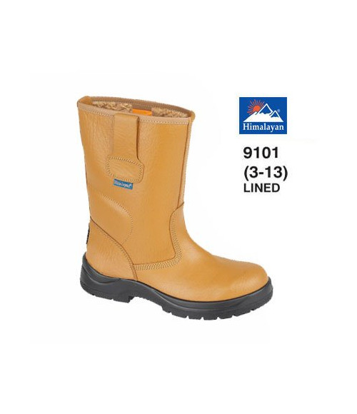 Himalayan 9101 Tan Leather Safety Rigger Boots - Fleecy Warm Lining & Steel Midsole