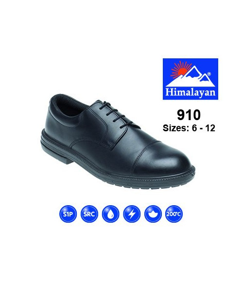 Himalayan 910 Black Leather Formal Safety Shoes - Dual Density Sole & Midsole