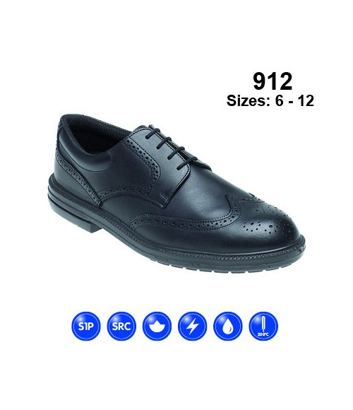 Himalayan 912 Black Leather Brogue Safety Shoes - Dual Density Sole & Midsole