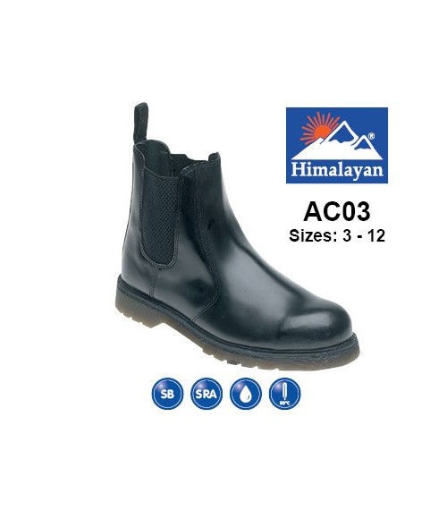 Himalayan AC03 Black Leather Safety Dealer Boots - Air Cushioned PVC Sole