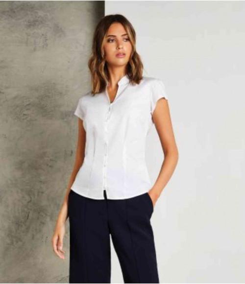 K727 Kustom Kit Ladies Cap Sleeve V Neck Tailored Continental Blouse