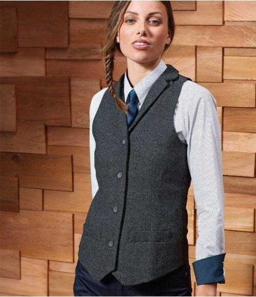 PR626 Premier Ladies Herringbone Waistcoat