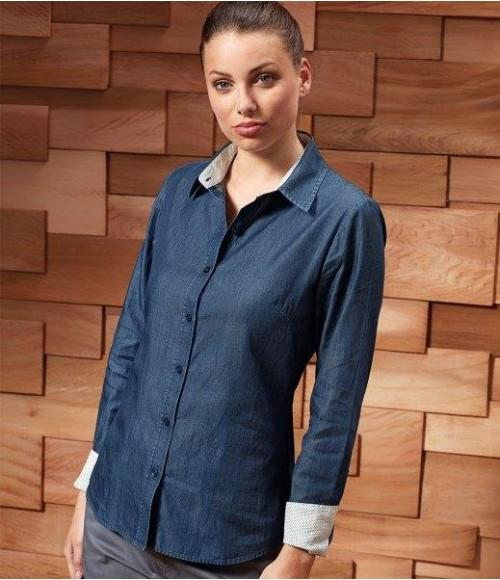PR359 Premier Ladies Long Sleeve Denim-Pindot Shirt