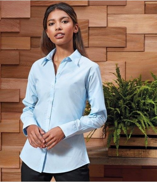 PR307 Premier Ladies Supreme Long Sleeve Poplin Shirt