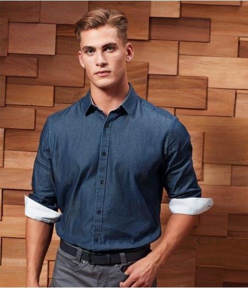PR259 Premier Long Sleeve Denim-Pindot Shirt