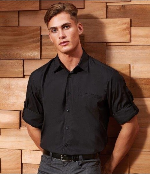 PR206 Premier 'Roll Sleeve' Poplin Shirt